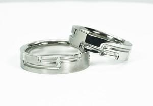 結婚指輪 格子柄【繋ぎ】和テイストのペアリング