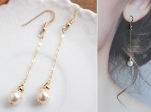 あこや真珠のロングチェーン・パールピアス(14金ゴールドフィル金具)