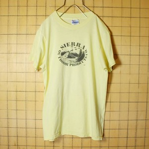 70s 80s USA製 Hanes ヘインズ プリント 半袖 Tシャツ イエロー 黄色 メンズM SIERRA OUTDOOR PRODUCTS CO 古着 051320ss60