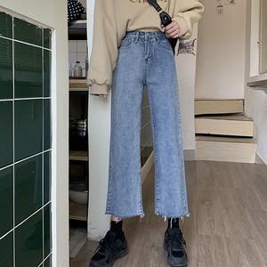 【ボトムス】ファッションハイウエストエイジング加工デニムパンツ33564700