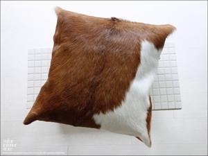 毛皮クッションカバー PUTI-4 ハラコ 天然皮革 手作り レトロ調 本革 アンティーク調 本皮 北欧調 ハンドメイド 正方形 45x45cm