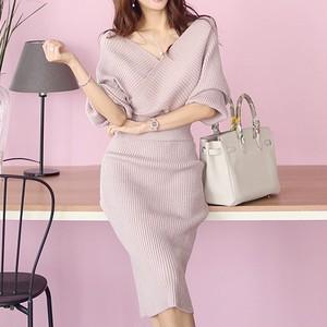 【セット】ファッション秋冬長袖 Vネックセーター+セクシースカート2点セット24149965
