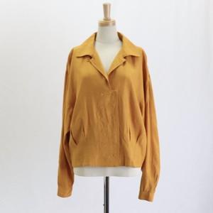 90's【HYPE】mustard Open Coller Design Shirts  90年代 開襟 オープンカラーデザイン レーヨン ブラウス 長袖シャツ マスタード イエロー