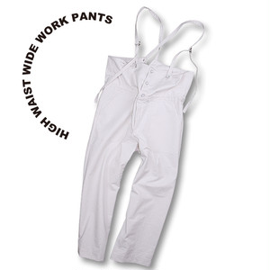 High waist wide work pants [beige]