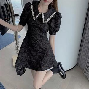pearl collar dress 2color