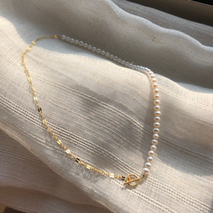 pearl chain short necklace n016