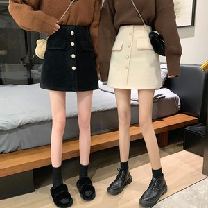 【ボトムス】 韓国系無地ボタン飾りAラインハイウエストラシャスカート25730553