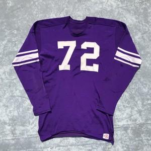 60's LOWE&CAMPBELL レーヨン フットボールTシャツ ヴィンテージ パープル 9分袖 サイズ44 ナンバリング