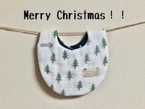 【 国産 fuwara ガーゼ 使用 】 クリスマス スタイ (モミの木)