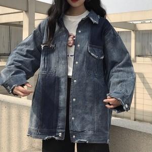 【アウター】カジュアルデニムルーズジャケット