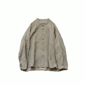 ベルギーリネン*バンドカラーシャツ*ライトグレー