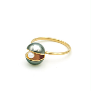 Pearl×Pearl Pearl Ring(black)