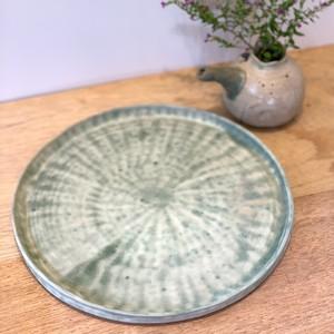 蒼水釉 丸皿 E-0063