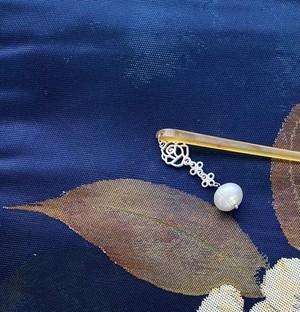 〈大玉真珠の簪〉根付 本真珠 シルバーカラー 2way オトナ 和装 和小物