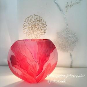 【カンナ】手描きガラス絵付けガラスのフラワーベース オブジェ|還暦祝い・記念日ギフト・インテリア・新居祝い・新築祝い