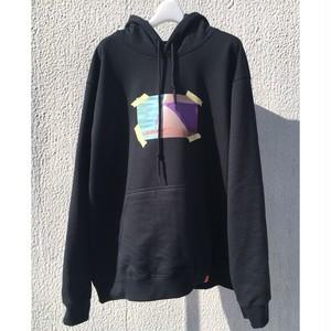 SKIN / poster print hoodie(blk)