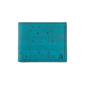 VEGAN MEN'S COIN WALLET  TEAL/ 二つ折り財布 ティール&ブラック コルク製 小銭入れ付き