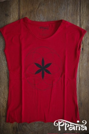 PRANA LADYS YOGHINI FLOWER OF LIFE T RED