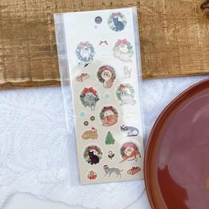 【Book Farm】クリスマスシール 猫とリース