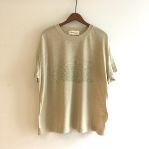 C-91245 Gauze Jersey  Walk on the natural side Print Tee