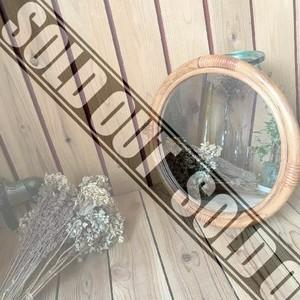 ≫ヴィンテージ*ラタンフレームウォールミラー*古い円形籐枠壁掛け鏡*ラウンドミラー自然天然ナチュラルインテリア*ビンテージアンティーク
