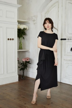 Asymmetric Ruffled Jersey Dress