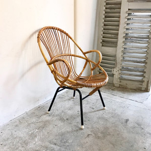 """Rohe"" Rattan Lounge Arm Chair 1960's オランダ"