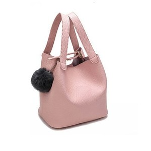 Top Handle Bag PU Leather Handbag Black Bag Tassel Bag Small Bucket Bag ブラック レザー ハンドバッグ タッセル (HF99-8701887)