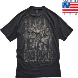 1点物◆USA製ビンテージ80sジャズJAZZ黒人プリントTシャツ古着メンズMLレディースOKアメカジ90sストリート/スポーツMix黒Tアメリカ製419598