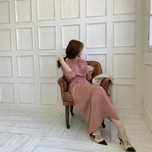 classic satin onepiece / vintage pink (即納)