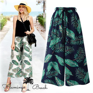 【FlamingoBeach】resort leaf wide pants