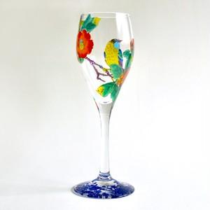 玻璃彩花 ビンテージ(椿に鳥) / 山近一憲