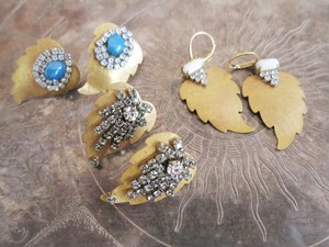 vintage pierced earrings Miriam Haskell <PE-MHgd2>