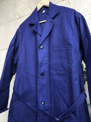 Deadstock Old French blue cotton work coat 1