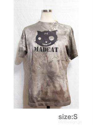 手染め+プリント一点ものTシャツ「三毛」黒猫S(1-110)