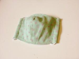 ダブルガーゼの立体マスク~ドットグリーンS