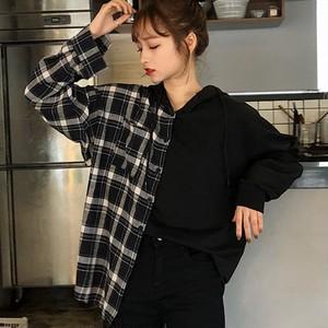 【トップス】チェック柄プルオーバーフード付きシャツ24365023