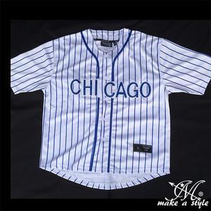 MLB シカゴ カブスBBシャツ ベースボールシャツ CHICAGO CUBS 白 B系 ストリート系 ヒップホップ ギャング マフィア スケーター sk8 バイカー 西海岸 437