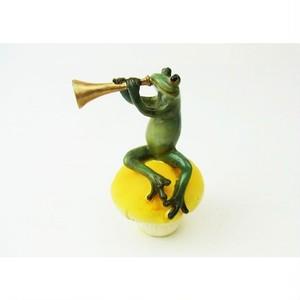 カエルオブジェ キノコ乗り蛙ミュージシャン トランペット  ed10987c-1711