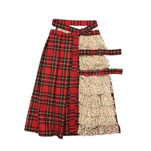 チェックフリル巻きスカート RED