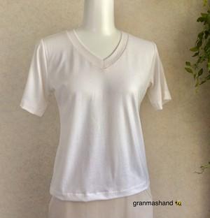 5号VネックTシャツ 白 半袖