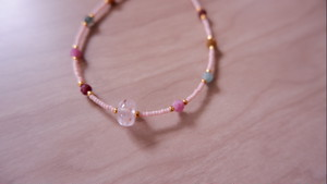 Kunzite & Tourmaline Baby Pink Beads Bracelet