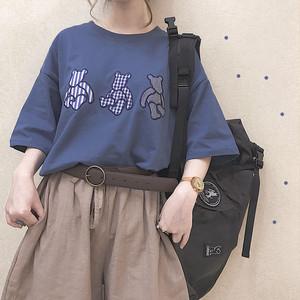 【トップス】動物柄プリント春夏キュートカジュアルラウンドネック半袖Tシャツ