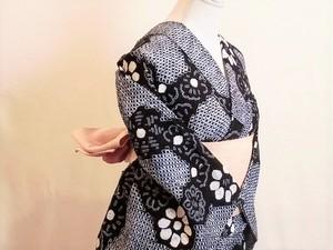 SALE!!【S-15】 丈149 裄60 藍染 花柄 王道 絞り 浴衣 リサイクル