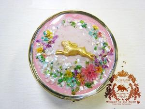 花畑ピルケース(ウサギ・ミラー付き)