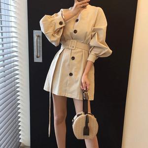 【dress】超人気Vネックレトロ無地デートワンピース20805657