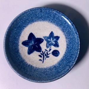手づくり陶芸 手描き釉彩絵皿 桔梗