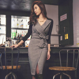 【dress】Patchwork bowknot bandage sexy dress