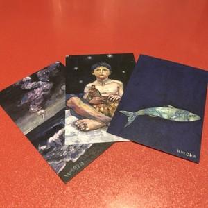 「波」梅子の絵ポストカード3枚セット
