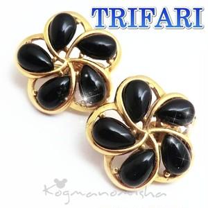 TRIFARI ☆漆黒のお花 ブラックカボッションガラス ヴィンテージ イヤリング.梅の花